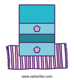 wooden furniture drawers and striped carpet decoration