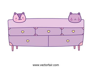 wooden drawers furniture with faces of cat decoration