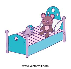 cute bed with teddy bear and octopus toys, isolated icon