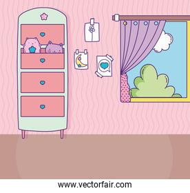 room window wooden drawers with toys cats and drawings in the wall