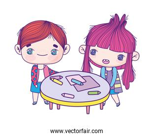 cute little girl and boy cartoon with table and crayons