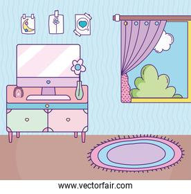 room drawer computer flower window carpet and drawings in wall