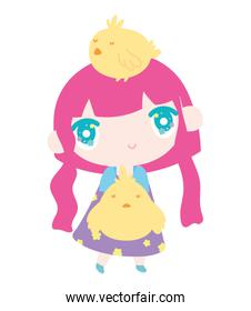 little girl anime cartoon with chickens