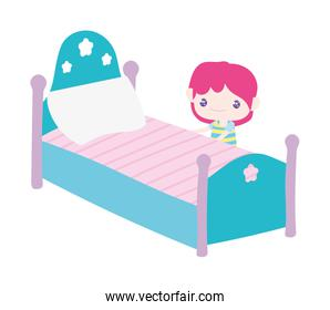 cute little boy cartoon and bed with pillow