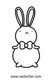 cute rabbit with bow tie cartoon thick line