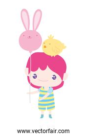 cute little boy with chick on head and balloon of rabbit