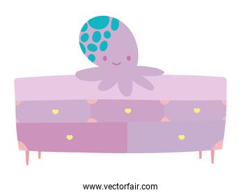 cute octopus toy on furniture drawers