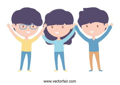 group young people cartoon characters on white background