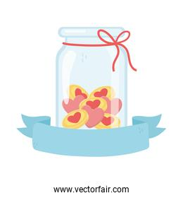jar glass with coins money hearts love charity and donation banner