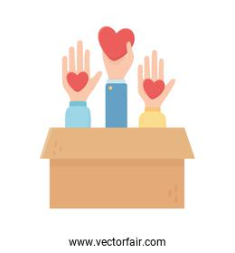 hands with hearts love in box charity and donation concept