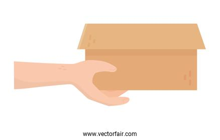 hand with cardboard box charity and donation concept