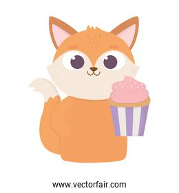 happy valentines day, pretty fox with sweet cupcake love