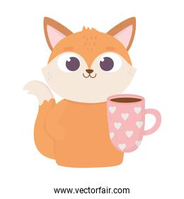 happy valentines day, cute fox with coffee cup with hearts