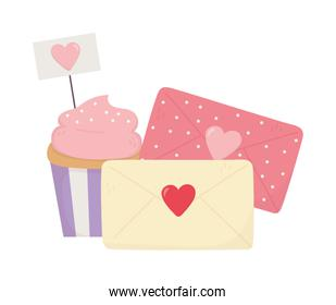 happy valentines day, sweet cupcake and evelopes message cards