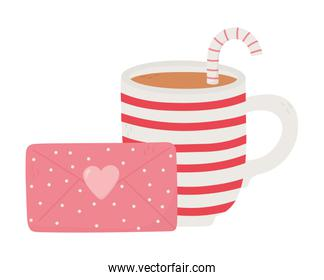 happy valentines day, striped cup chocolate envelope message heart