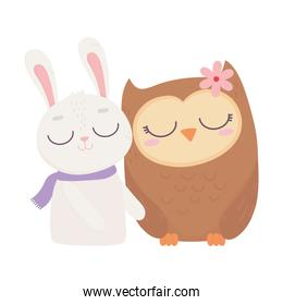 cute animals rabbit with scarf and owl with flower cartoon