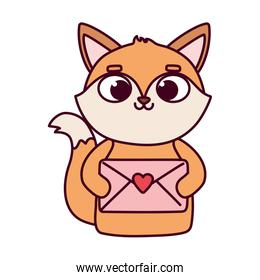 happy valentines day, pretty fox with envelope letter