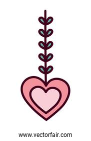 valentines day, heart love with branch leaves