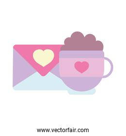 happy valentines day, cup chocolate envelope message heart romantic