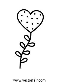 valentines day, heart love with branch leaves decoration thick line