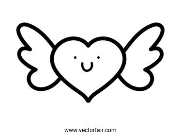 happy valentines day, pink heart with wings lovely thick line