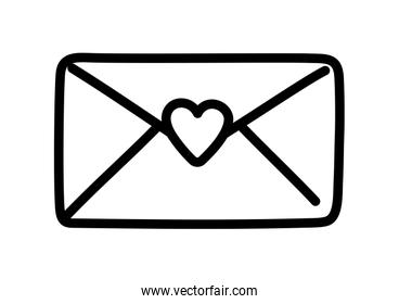 happy valentines day, mail envelope letter card love thick line