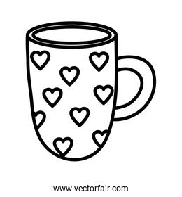 happy valentines day, coffee cup with hearts love decoration thick line