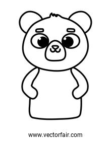 cute animal little bear teddy cartoon icon thick line