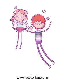 happy valentines day, young man in love with cupid holding heart cartoon