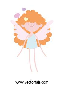 happy valentines day, beauty cupid with wings love hearts cartoon