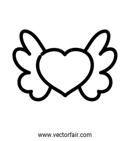 happy valentines day, heart with wings lovely thick line