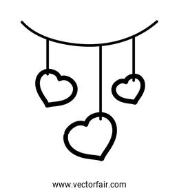 happy valentines day, hanging hearts love decoration feelings thick line