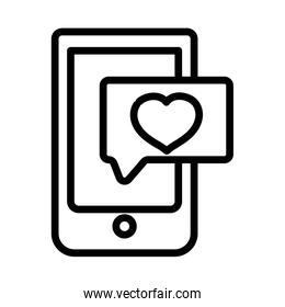 happy valentines day, smartphone speech bubble message love thick line