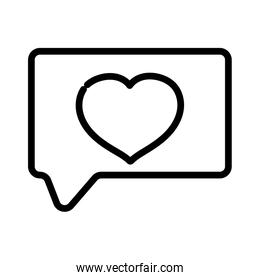 happy valentines day, speech bubble heart love message thick line