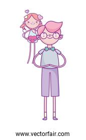 happy valentines day, young man and little cupid hearts love cartoon