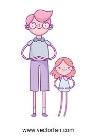 happy valentines day, young man and little cupid cartoon character
