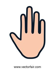 human hand showing five fingers stop gesture icon