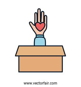 open hand with heart in box charity and donation