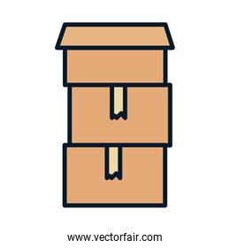stacked cardboard boxes container storage charity and donation