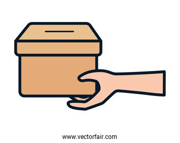 isolated hand holding cardboard box charity and donation