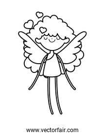 happy valentines day, beauty cupid with wings love hearts cartoon thick line