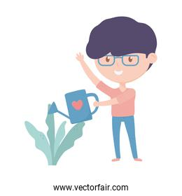 young man watering can plant in pot