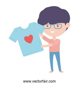 man holding shirt love charity and donation