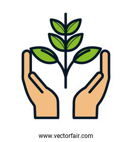 hands with plant ecology environment icon