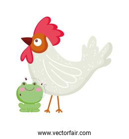 rooster and frog farm animal cartoon
