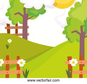landscape wooden fence flowers trees nature tree clouds sun