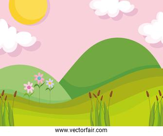landscape nature clouds sun mountains flowers greenery