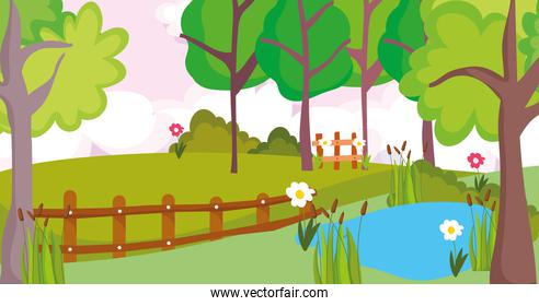 landscape nature trees lake flowers fence clouds sun