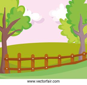 landscape wooden fence farm field nature tree clouds