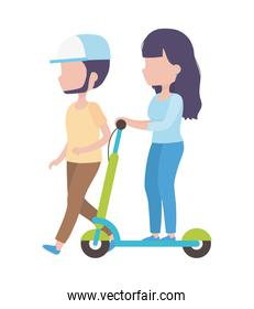 young woman riding electric scooter and man walk